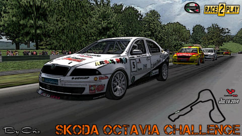 Mario Rocha drove to a 12th-place finish in his 100th career run on the rFactor sim in the Cadwell Park Skoda @ Race2Play.com