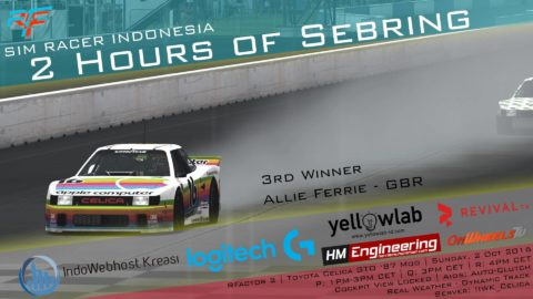 Allie Ferrie finished 3rd place – 2 Hours of Sebring @ Sim Racer Indonesia