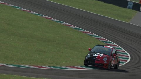 Carlos Reina took fourth position on the first lap and controlled it every lap to the finish in Goodwood Abarth500 // Race2Play